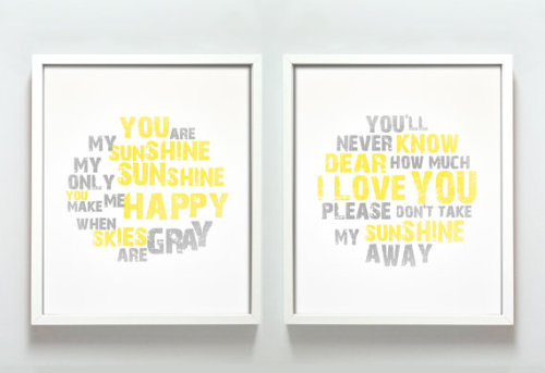You Are My Sunshine print set by GusAndLula