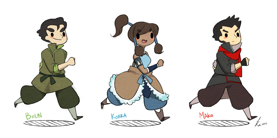Bolin, Korra & Mako doodles. I think I can make a wallpaper out of it.XD