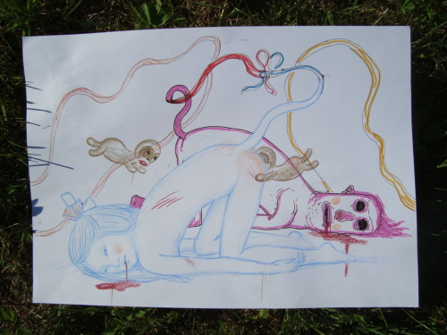 Collective drawing from Drink & Draw with Gary Baseman