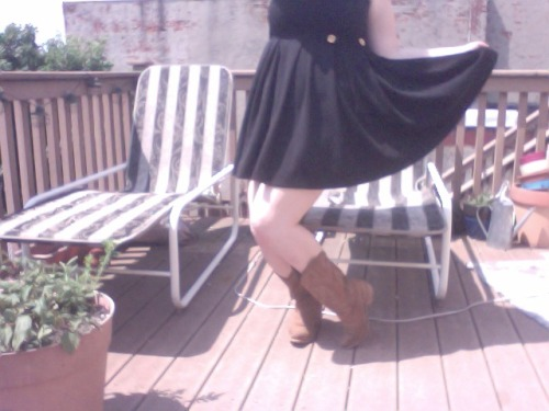 Memorial Day OOTD! Swingy black dress, boots (obviously)   also, my swagger.