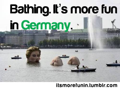 """Badenixe"" (bathing beauty) sculpture in Hamburg, Germany. Source"