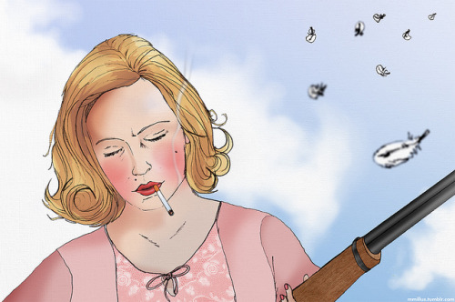 allmymetaphors:  Betty Draper- Gun by Mark Moore Illustration on Flickr.  - I found my Betty Draper image on another tumblr and it has more notes than my own post so I'm reblogging it and claiming them as mine :)