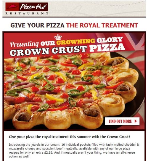 Have Pizza Hut gone too far, or just far enough?  The logical endpoint for this sort of thing is an entire pizza stuffed into the crust of a larger pizza, probably as part of a promotional campaign for Inception 2.