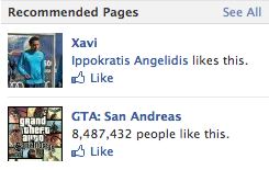 This is really weird. Facebook started serving me GTA San Andreas ads / page recommendations. I've started playing San Andreas a week ago — after ~ 5 years; without any social media reference whatsoever. No Facebook post, no Twitter, etc. Can someone explain it? It's so interesting and weird in the same time.