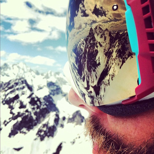 Black Peak reflected in Matt Henry's goggles from atop Mt. Arrive.  #northwest #ski #mountains #skimountaineering #cascades  (Taken with Instagram at North Cascades National Park)