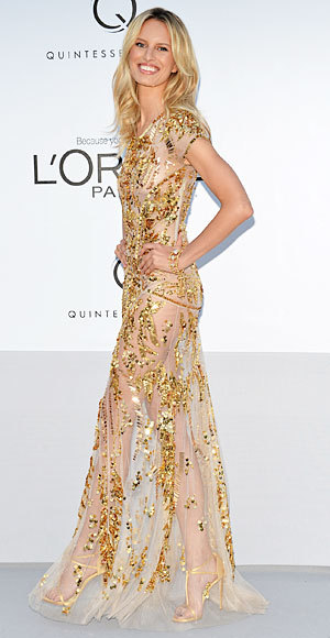 Karolina Kurkova in Roberto Cavalli at Cannes. More Cannes red carpet style on ChiCityFashion.com