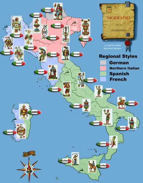 "Modiano, the major producer of Italian playing cards, offers this handy map of the various regions and their cards. At the very top of the map, in Northern Italy near the border with Austria, you can see a single region using a ""Salzburger"" deck. These use the German-style suits of hearts, bells, leaves, and acorns for (respectively) the hearts, diamonds, spades, and clubs of the Anglo-French deck. On the western side of Italy, you're more likely to find cards based on the familiar Anglo-French suits.The Siciliane deck described in this post is shown on the eastern side of the island of Sicily."