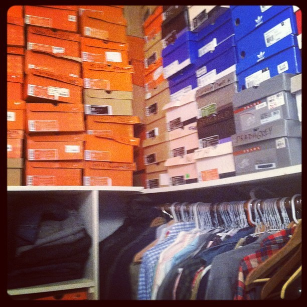 Kicks from the ceiling to the floor. That's why @kassanb gets the big closet. (Taken with Instagram at Home Sweet Home)