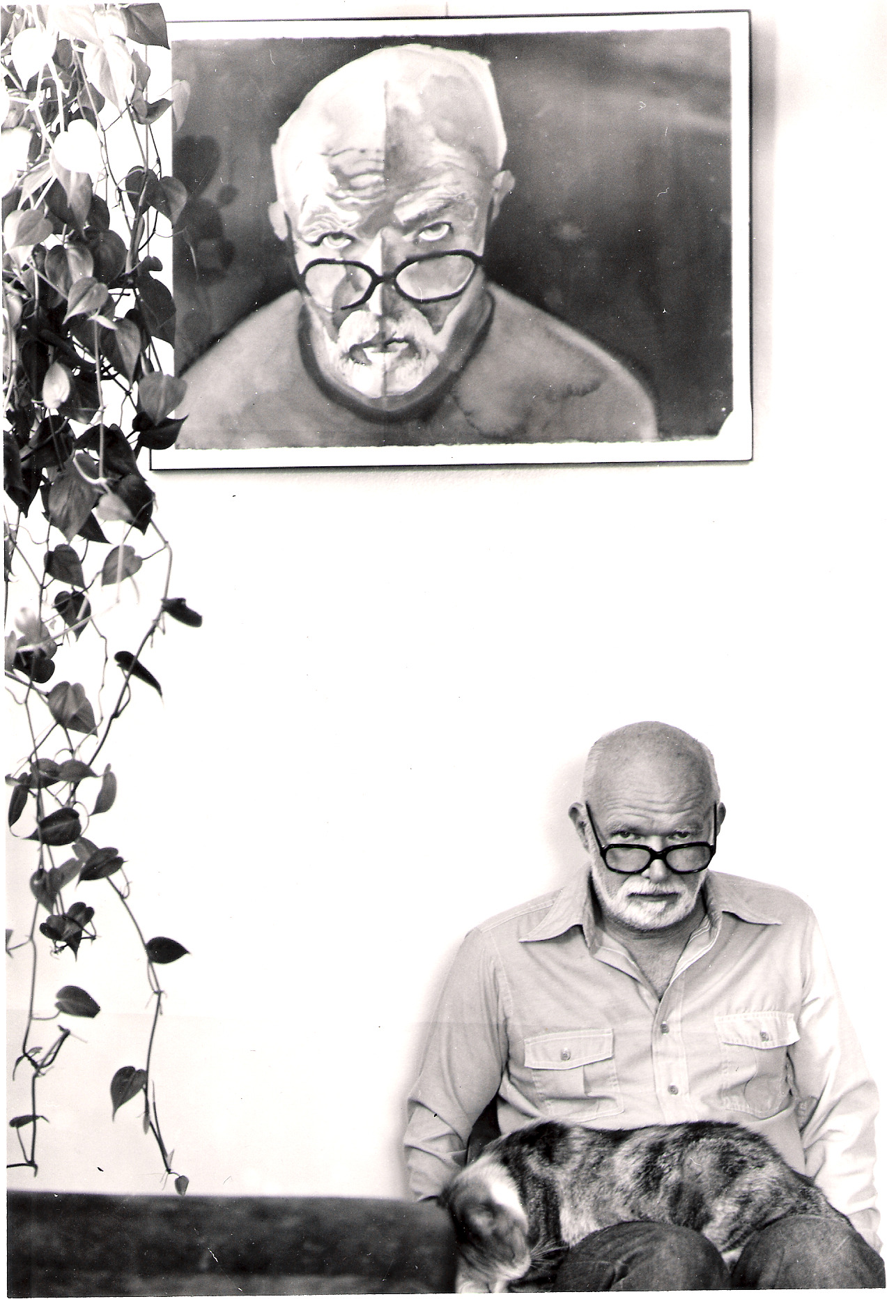 American painter Keith Crown with self-portrait  by Katie Crown. via