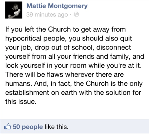 I disagree with this highly. Considering if the church was the ONLY solution to this issue… There wouldn't be an issue in the first place.