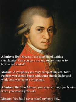 Wolfgang Amadeus Mozart responds to an admirer's question.