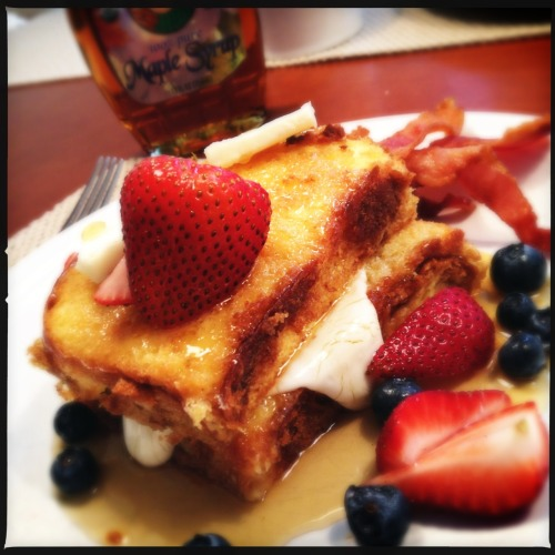 #HolidayBreakfast of Brioche French Toast with Cream Cheese Filling and Fresh Berries Loftus Lens, DC Film, No Flash, Taken with Hipstamatic