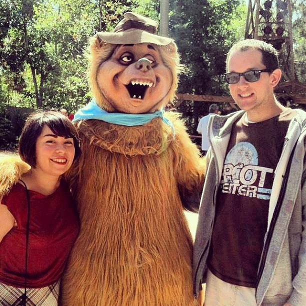 @guyselga and I don't normally take character pictures, but the Country Bears are the exception to the rule. We told him that the bears need their hall back in Disneyland. He agrees #Disneyland  (Taken with instagram)