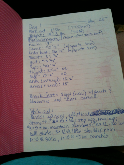 This is my summer project.   Hand tracking my work outs, nutrition and progress over the summer.   I'm excited. I've already lost 1/4 inch off my waist in the 2 weeks since I started with Amy.   Today was workout 1 of 36 with her.  20 mins elliptical Step ups, knee up: 2 x 15, 1 x 10 per leg Mountain climbers: 3 x 5 per leg Ball slams: 3 x 12 @ 20 lbs.  (done as a circuit) Shoulder press: 3 x 12 @ 10 lbs.  Crunches: 1 x 15 @ 65 lbs.; 1 x 15 @ 90 lbs.   T.O.M plus a core killing work out certainly made me want to puke.   It was a great work out. And followed by a protein shake. Happy memorial day :)