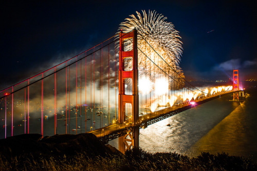 laughingsquid:  Golden Gate Bridge 75th Anniversary Celebrated with Massive Fireworks Display & Light Show  WOW!