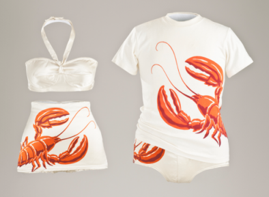 lacma:  Welcome to summer. LACMA is free today. California Lobster two-piece swimsuit, swim trunks, and man's shirt, Mary Ann DeWeese, 1949, Catalina Sportswear (Los Angeles, 1907–93), collection of Esther Ginsberg/Golyester Antiques, photo © 2011 Museum Associates/LACMA  Boston summer weekend wear
