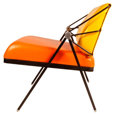 1970.  Lounge Chair by Gaston Rinaldi. Italy. Great detail of side profile, adds a little industrialism to a mid century inspired piece. Materials: Patinated metal, aluminum, faux leather.
