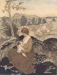 "Arthur Rackham early 20th century Illustration from 'The Springtide of Life"" A C Swinburne, poet"