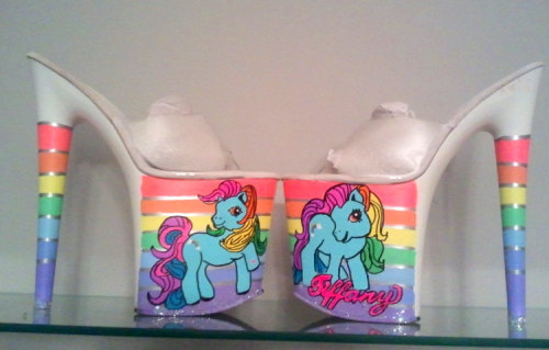 """RAINBOW DASH My Little Pony mlp uv responsive platform exotic dancer stripper heels 7"""