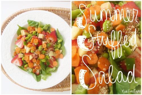 "riiaeatsright:  Summer Stuffed Salad I have been scrapbooking all morning! As a senior at my highschool, we have to make a ""Senior Scrapbook"" as the last grade in our English class. The scrapbook has to have 14 pages/stories…so it's taking forever! I keep getting distracted! Maybe it's the music I'm listening too, or the salad I'm eating, or the blogs I've been creeping through..who knows! So after a long time of cutting, pasting, and writing…I deserved a delicious lunch! What was I craving? …everything! So I made myself, what I'm calling, Summer Stuffed Salad! It's basically a combo of anything I found in my fridge, but delicious none the less! :) Ingredients: Leafy Greens Spinach Strawberries Red Peppers Green Peppers Carrots Apples Edamame (shelled, of course!) Hemp Hearts Raspberry Vinaigrette I love all the colors and textures! Mmmmm :)"