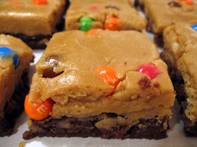 Peanut Butter Cookie Dough Brownies 9x13 pan of brownies, baked and cooled 1/4 cup salted butter, softened 1/2 cup peanut butter 1/2 cup granulated sugar 1 cup brown sugar 1/4 cup + 2 tbsp milk 1 tbsp vanilla extract 2 cups flour 1 1/4 cups pretzel M&Ms Step 1: With an electric mixer, cream the butter and peanut butter until smooth, about 1 minute. Step 2: Add the sugars, and continue creaming until light and fluffy, about 1 minute more. Step 3: Add the milk and vanilla, and mix until smooth. Step 4: Add the flour, and continue to mix at low speed until fully combined. Step 5: Stir in the M&Ms. Step 6: Spoon the cookie dough onto the cooled brownies and spread gently into an even layer. Step 7: Slice into squares, and prepare for your life to change.