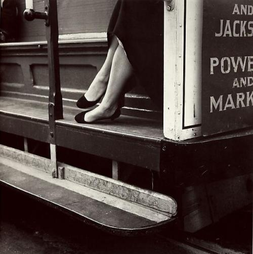 "heddahopperhats:  ""Cable Car"" San Francisco, 1956 Photo by Dorothea Lange"