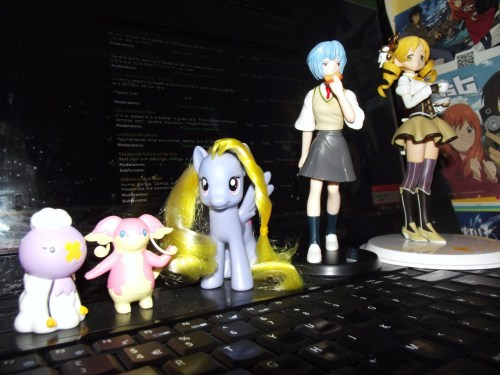 Drifloon, Audino, Lily Blossom, Rei Ayanami and Mami Tomoe. All from the MCM Expo. <3