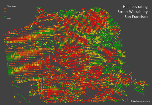 thisbigcity:  San Francisco might be steep, but is it walkable? More on This Big City. 美國舊金山道路或許陡峭,但是否適合步行?更多內容請見城事。