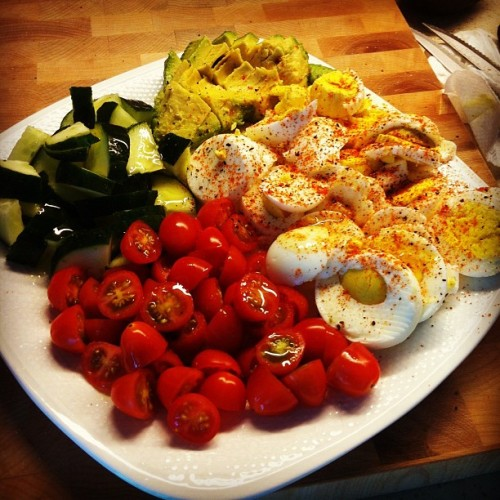 Mediterranean Spanish Style Breakfast! Hard Boiled Eggs, tomatoes, Cucumbers, Avocado on toast. #yum  (Taken with instagram)