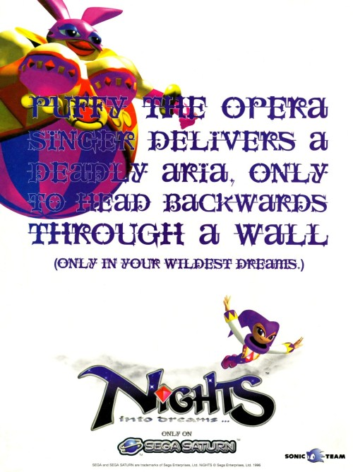 vgjunk:  NiGHTS into Dreams… magazine ad.   Classy ad
