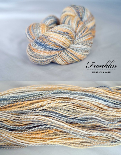{handspun} — Franklin. I joined my first spin-a-long with Diane who does the Knitabulls podcast and ordered the hand dyed fiber from GnomeAcres. It is 100% Superwash Merino and a 4 oz. bump. The colorway was designed after Diane's bird, Franklin, which is a girl. We had just over a month to spin and I loved working with this fiber. It was so wonderful to draft and spin… and the color is gorgeous. Amanda, of GnomeAcres, has an unique method of hand dying her fiber, she dyes it while it's still braided so there is a touch of white in the middle. At first I wasn't so sure I'd like that, but it really grew on me. The colors blended so well together with that touch of white in there. I also tried fractal plying for the first time. It is where you take a braid of roving and split it length-wise completely down the middle so you have two ropes that are identical. Spin one as is onto one bobbin, this will result in a very slow color change. Break the other half of the roving apart length-wise about 4 times (I did once down the middle, and then did each of those halves again, etc.) so you have a lot of skinny ropes. I kept the same colors together at the ends, or mirrored them, for example if it was grey at the end of one of the skinny pieces I joined it to the other grey ended half I just separated. (I hope that makes sense!) It will result in a very quick color change on this bobbin. Then, I 2-plyed the bobbins together and voilà, delicious looking yarn! There is also a pretty decent write up on Knitty about fractal plying: http://www.knitty.com/ISSUEwbis11/KSFEATfractal.php Here are all the details and how long each took me:First Bobbin (split half into eights): 5/3/12–5/6/12 Second Bobbin (spun half whole): 5/8/12-5/9/12  2 Ply: 5/10/12-5/11/12 Re-ran through wheel to correct overspin: 5/11/12 Soaked: 5/12/12 Approximately 376 yards WPI: 17-18 Sport Weight I have a little bit of one bobbin left that I will Navajo Ply at a later date. I donated this skein of yarn to an art auction fundraiser I hosted for my parents :) art for Jerry.