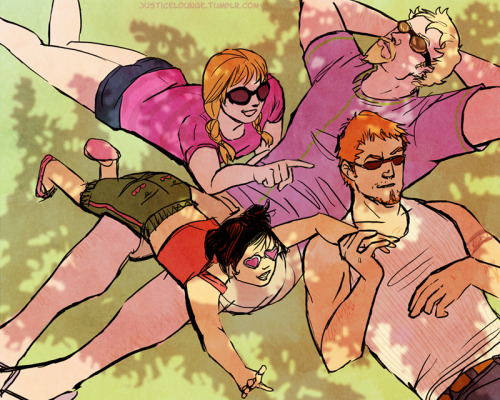 kylewithenvy:  Art of the Day: The Arrow family on a summer day (not shown: Kiki). - Kyle Rayner