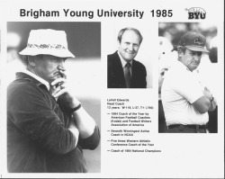 Media info on LaVell Edwards heading into 1985 season.