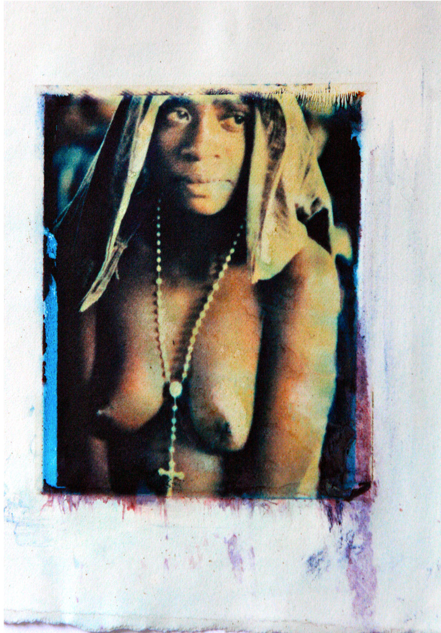 Asmat woman  polaroid transfer to water color paper