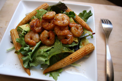 BBQ Shrimp SaladShrimp, baby corn, avocado, organic spring mix, drops of bruschetta vinaigrette, sweet & spicy BBQ sauce (for cooking shrimp & baby corn)Perfect almost-summer salad.Went on a 2.1mi walk/jog this morning. Not impressive, but a start is a start! Haven't jogged in months, so I'm easing back into it. Let's keep each other motivated!