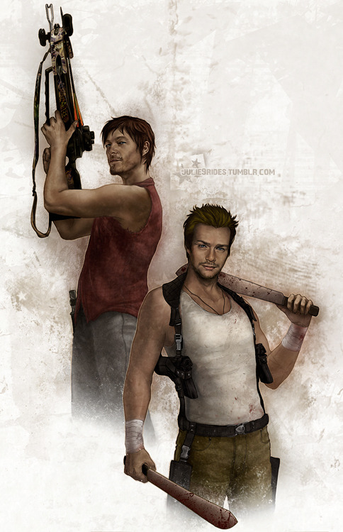 julie9r:  BECAUSE I NEED FLANDUS ON TWD, OK. Though I'd probably die in happy convulsions from the epic amount of badassery but my life would be complete.Btw, sorry, Conn, I forgot to draw your stupid fuckin' rope so have a pair of machetes instead.   Oh my god. The look on Norm's face is captured so perfectly. It's an amazing piece of art all around but the way you captured that look.