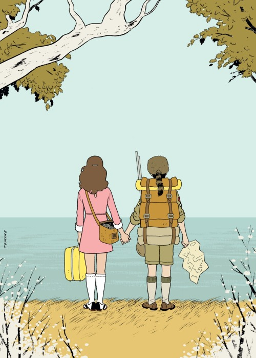 criterioncorner:  MOONRISE KINGDOM  by Adrian Tomine (Re-blogged from criterioncast) Adrian Tomine's beautiful Moonrise Kingdom illustration for Anthony Lane's review in The New Yorker.  Via Adrian Tomine News