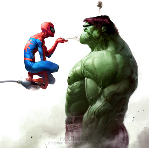 Spidey vs. Hulk by Christian Nauck