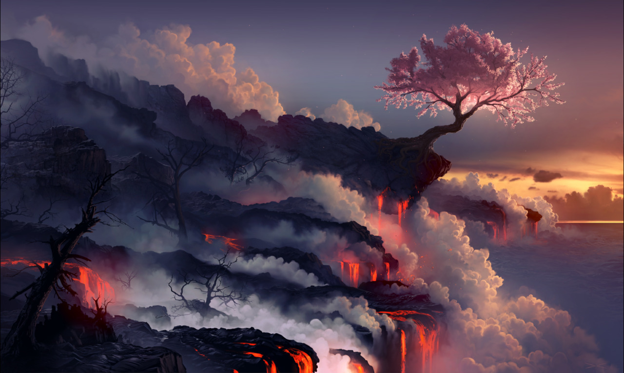 Scorched earth by `arcipello  Look at those gorgeous colours. I love the that despite the glowing magma/lava, the soft sakura tree still stands out so much. Beautiful.