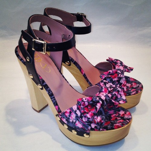 REDValentino's clogs w/ lilies of the valley print! SS '13 Pre collection. #clogs #romantic #pink #black #liliesofthevalley #pretty #girly #fashion #shoes #accessories #vintage #countryside #bucolic  (Scattata con Instagram presso REDValentino Showroom Milan)