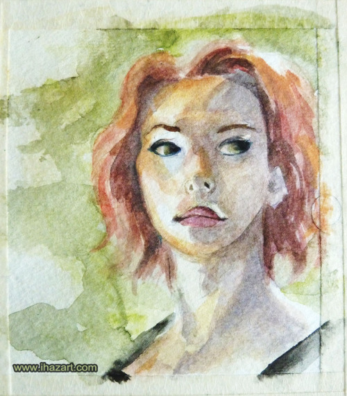 Whipping out the watercolours for 30min portraits. Black Widow - Avengers weeeeee
