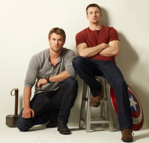 Chris Hemsworth and Chris Evans for US Weekly