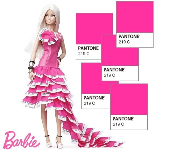 Pink in PANTONE Barbie (Gold Label) Designer: Linda Kyaw Release date: 17/11/2011 In over 50 years Barbie as made the color pink her personal signature, to be precise her color is PANTONE 219 (PANTONE is an American graphic society which catalogs colors). The glamorous dress celebrates the Mattel Barbie Pink fashion heritage with a long full skirt made of Pantone color chips in PMS 219C.