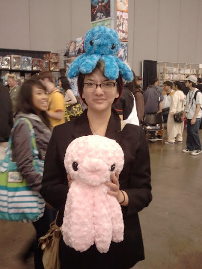 Mari and I snuck into Fanime. We got to touch octo-plushies.