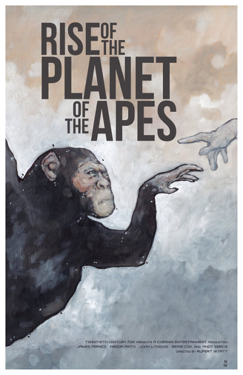"Based of the marvelous sci-fi treat Rise of the Planet of the Apes, this alternative movie poster's imagery plays off one of the main themes of the movie. The image is an interpretation of ""The Creation of Man"" by Michaelangelo, using Ceaser, the film's main ape protagonist reaching towards the gloved hand of a scientist to ignite the spark of sentience."
