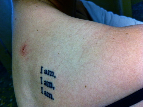 "my first tattoo :) from the Bell Jar by Sylvia Plath. ""I took a deep breath and listened to the old brag of my heart. I am. I am. I am.""no matter what you are going through, your heart still beats, and you still are - so simple but so reflective. this statement means millions to me and what i have been through.  done in San Jose, California at Salvation Tattoo."