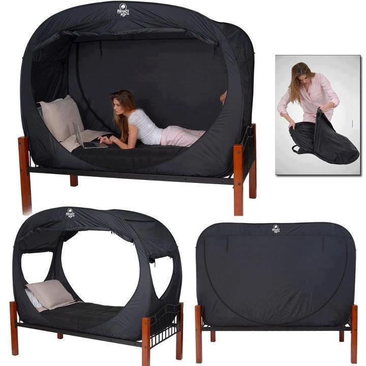 ms-basswaldorf:  The innovative bed tent that lets you let it all hang out, no matter where you are. A Privacy Pop tent gives you the coverage and privacy that you want, so that you can enjoy a place all your own, even in a dorm room or room shared with other.