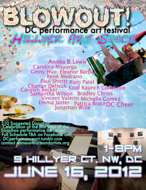 "I will be a participating artist in ""BLOWOUT"" A DC performance Art Festival. I am doing a new performance called ""I am attracted to someone else."" inspired by my latest photo series, ""Conversations with my therapist"". Come check it out on Saturday, June 16th at the Hillyer Art Space between 1-8pm.  dcperformanceart:   BLOWOUT! DC Performance Art FestivalHillyer Art Space, 9 Hillyer Ct NW, Washington, DC 20001Saturday, June 16, 1-8pmWashington, DC- It's getting hot out, and with summer comes festivals.  In celebration of the first year of the performance art series Soapbox, Hillyer Art Space is excited to present BLOWOUT! On June 16, 2012, 1-8pm, please join us for a day-long festival of performance art, bringing back past Soapbox artists as well as new performers, featuring more than fifteen performances throughout the day.  The participating artists were asked to consider summer itself as a departure point in the pieces they perform at the festival.  Performances will include Kristina Bilonick and DC Cheer!, Eleanor Barba, Carolyn Becker, Patricia Brace, Bradley Chriss, Chanan Delivuk, Michelle Gomez, Ginny Huo, Emma Jaster, Carolina Mayorga, René Medrano, Kunj Patel, Paul Shortt, Vincent Valerio, Jonathan Wille, Samantha Wilson, Kool Raunch Collective, and Swedish/Danish performance artist Annika B. Lewis.  Full schedule to be announced.   Soapbox is a monthly performance art series at Hillyer Art Space which seeks to increase exposure to this underrepresented form in DC.  In its first year of programming, we've seen ten fantastic Soapbox events, and a tremendous outpouring of support from a successful Kickstarter campaign to fund Soapbox.  Through the funds we raised, we have been able to continue Soapbox as a donation-only event, as aspect of the series which is critically important to our mission to provide accessibility to performance art in DC.  Admission to BLOWOUT! will likewise be donation only, $10 suggested.   The final line-up and complete schedule will be available online on the facebook event page, and on http://www.artsandartists.org/hillyer/events-soapbox.html. For more information about participating artists, please visit dcperformanceart.tumblr.com, and follow @eamesarmstrong on twitter for updates. Hillyer Art Space is located at 9 Hillyer Ct NW, Washington, DC 20008, behind the Phillips Collection, near the Dupont Circle Metro Station RSVP ON FACEBOOK!"