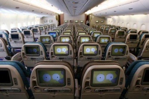 collegehumor:  Dozens of Simpson Eyes Staring at You on an Airplane Ever see a TV that could watch you?  I have.  It's called Kinect.