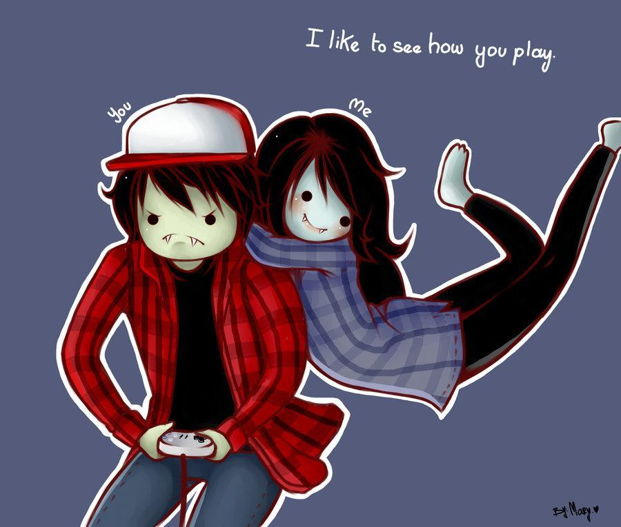 finn-theheroguy:  kroxh:  Marshall and Marceline *—*  He's prolly mad 'cause she beat him, hehe. XD